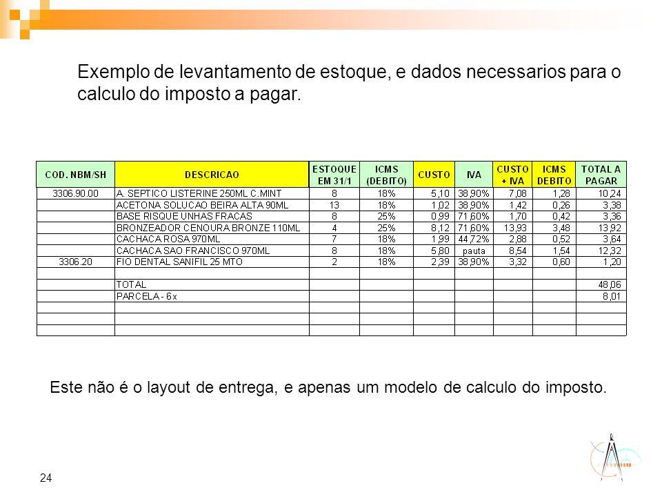 24 Exemplo de levantamento de estoque, e dados necessarios para o calculo do imposto a pagar. Este não é o layout de entrega, e apenas um modelo de ca