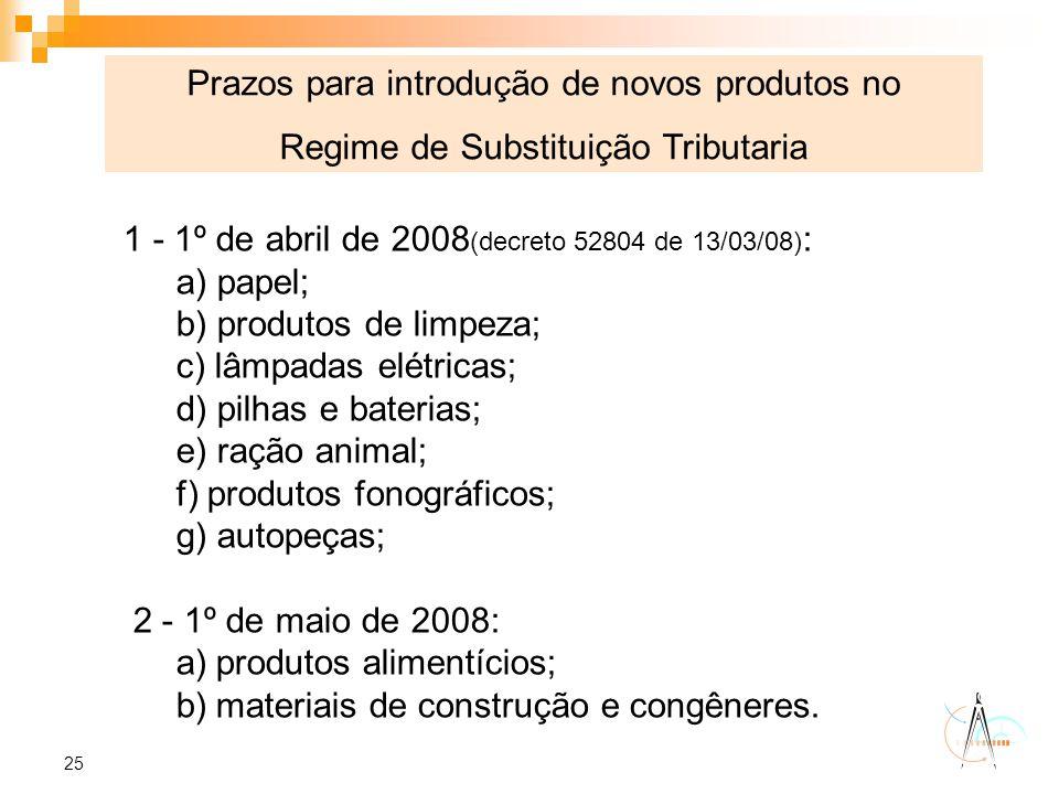 25 1 - 1º de abril de 2008 (decreto 52804 de 13/03/08) : a) papel; b) produtos de limpeza; c) lâmpadas elétricas; d) pilhas e baterias; e) ração anima