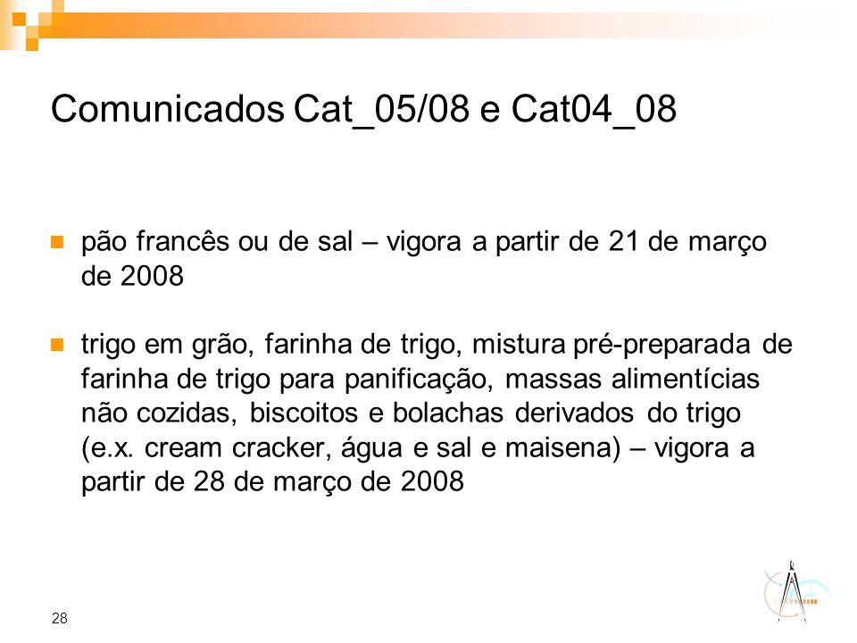 28 Comunicados Cat_05/08 e Cat04_08 pão francês ou de sal – vigora a partir de 21 de março de 2008 trigo em grão, farinha de trigo, mistura pré-prepar