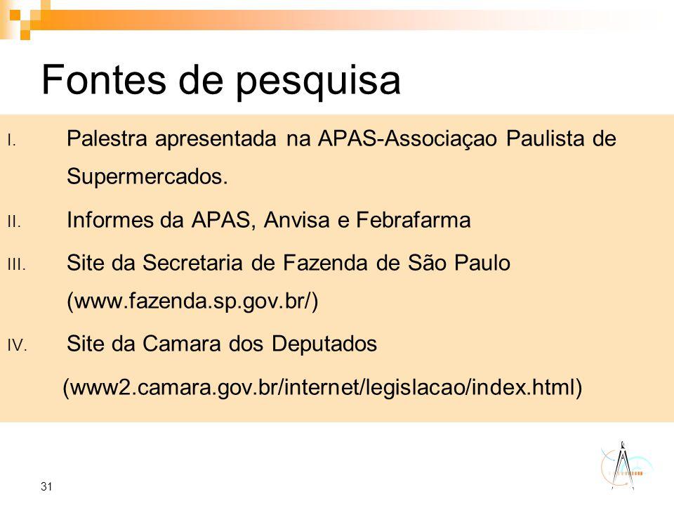 31 Fontes de pesquisa I. Palestra apresentada na APAS-Associaçao Paulista de Supermercados. II. Informes da APAS, Anvisa e Febrafarma III. Site da Sec