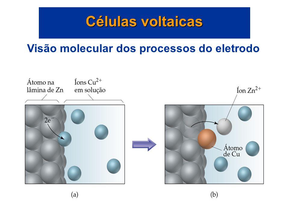 Os elétrons fluem do anodo para o catodo. Conseqüentemente, o anodo é negativo e o catodo é positivo. Os elétrons não conseguem fluir através da soluç