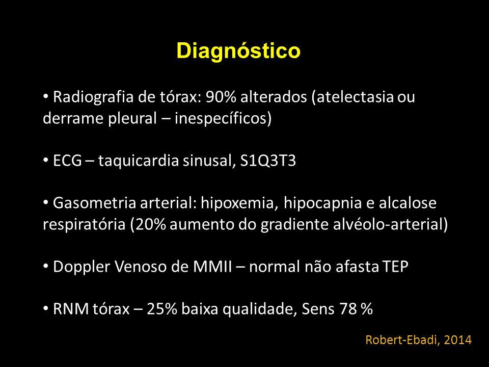 Diagnóstico Robert-Ebadi, 2014 Radiografia de tórax: 90% alterados (atelectasia ou derrame pleural – inespecíficos) ECG – taquicardia sinusal, S1Q3T3