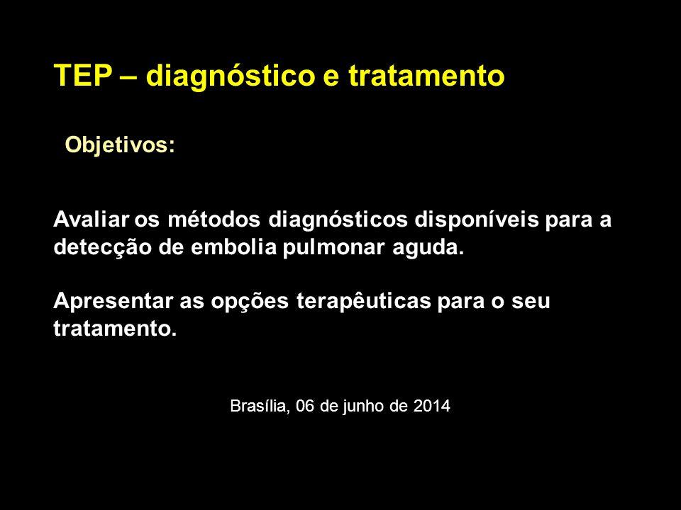 Diagnóstico Robert-Ebadi, 2014 Radiografia de tórax: 90% alterados (atelectasia ou derrame pleural – inespecíficos) ECG – taquicardia sinusal, S1Q3T3 Gasometria arterial: hipoxemia, hipocapnia e alcalose respiratória (20% aumento do gradiente alvéolo-arterial) Doppler Venoso de MMII – normal não afasta TEP RNM tórax – 25% baixa qualidade, Sens 78 %