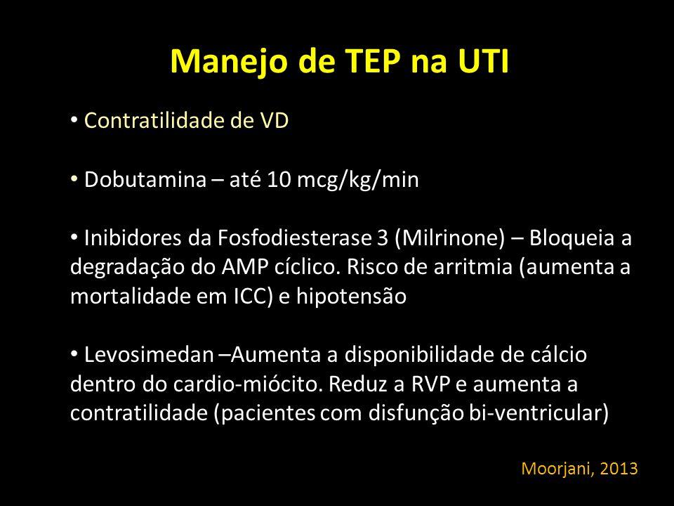 Manejo de TEP na UTI Contratilidade de VD Dobutamina – até 10 mcg/kg/min Inibidores da Fosfodiesterase 3 (Milrinone) – Bloqueia a degradação do AMP cí