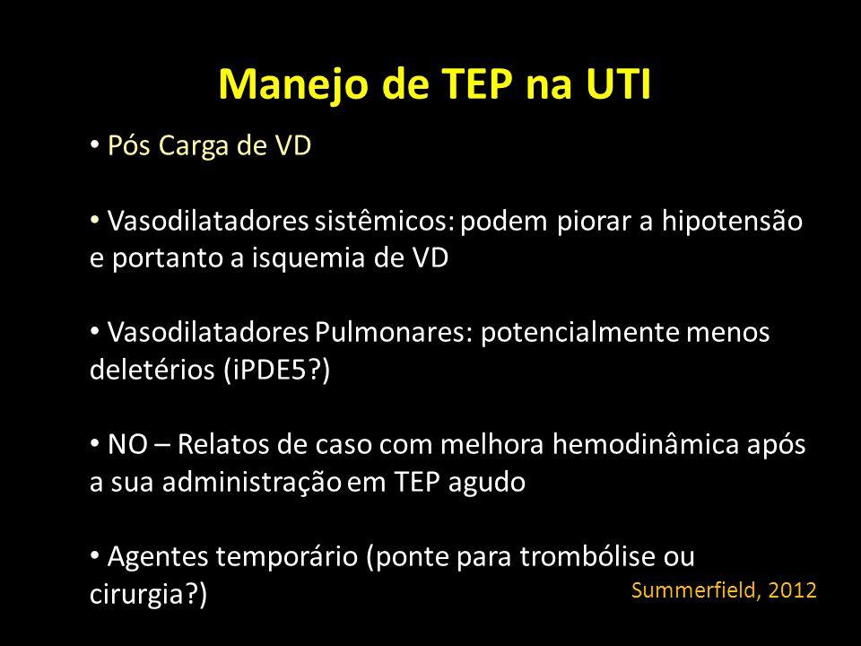 Manejo de TEP na UTI Pós Carga de VD Vasodilatadores sistêmicos: podem piorar a hipotensão e portanto a isquemia de VD Vasodilatadores Pulmonares: pot