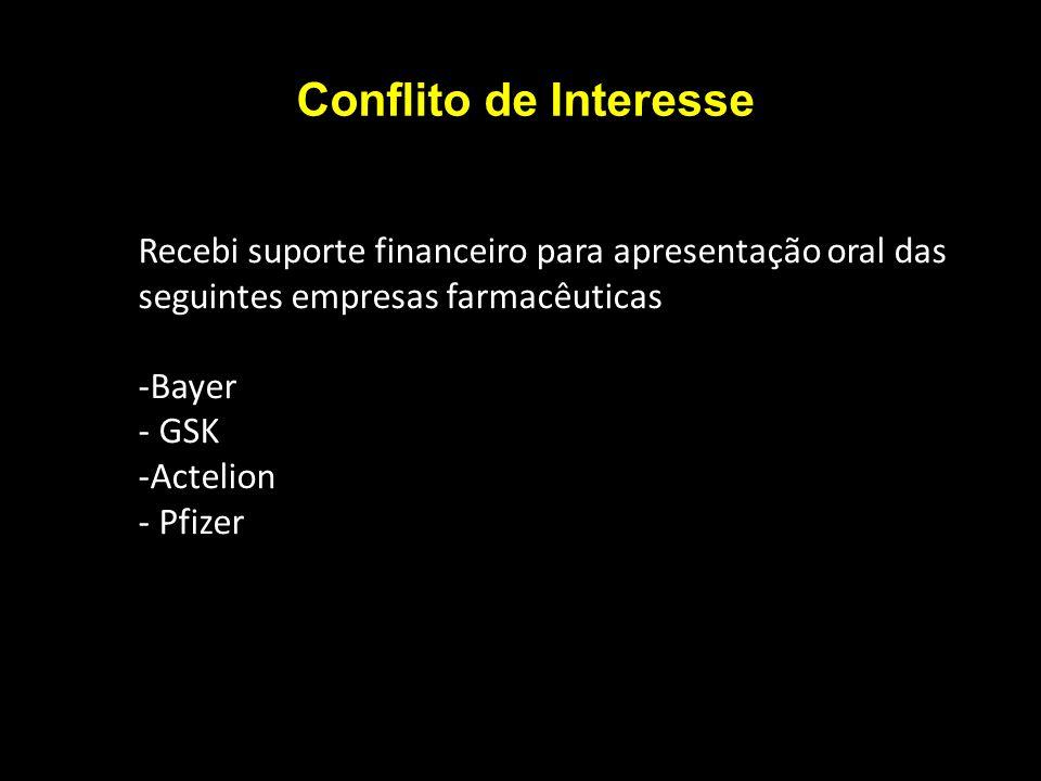 Conflito de Interesse Recebi suporte financeiro para apresentação oral das seguintes empresas farmacêuticas -Bayer - GSK -Actelion - Pfizer