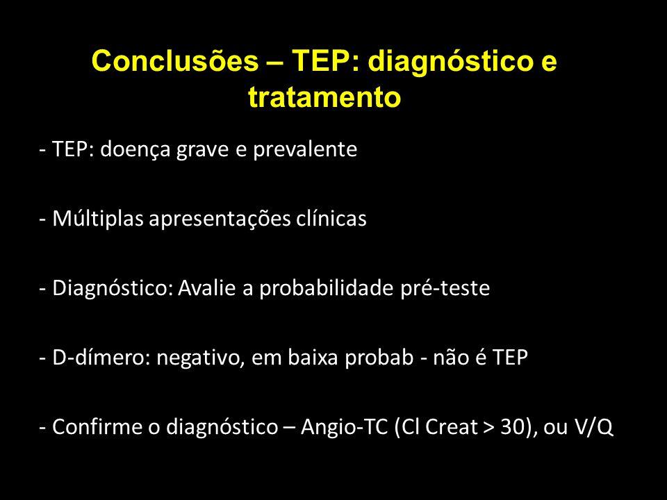 Conclusões – TEP: diagnóstico e tratamento - TEP: doença grave e prevalente - Múltiplas apresentações clínicas - Diagnóstico: Avalie a probabilidade p