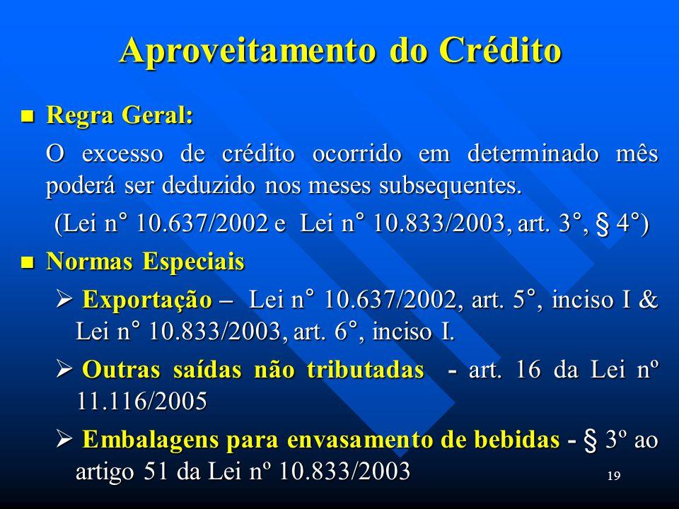 Aproveitamento do Crédito Regra Geral: Regra Geral: O excesso de crédito ocorrido em determinado mês poderá ser deduzido nos meses subsequentes. (Lei