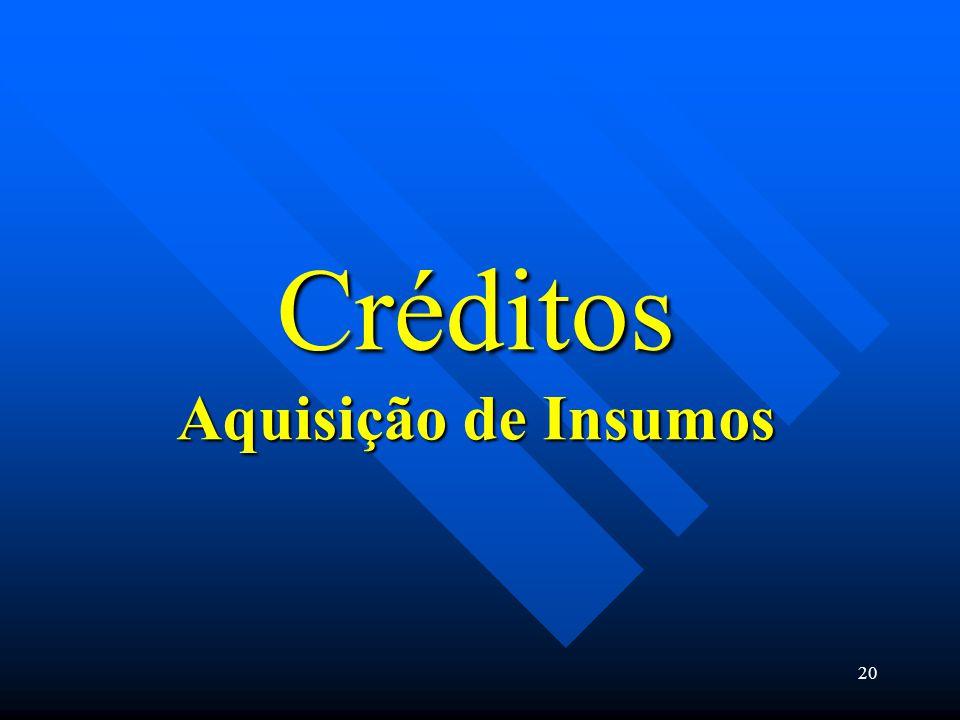 Créditos Aquisição de Insumos 20