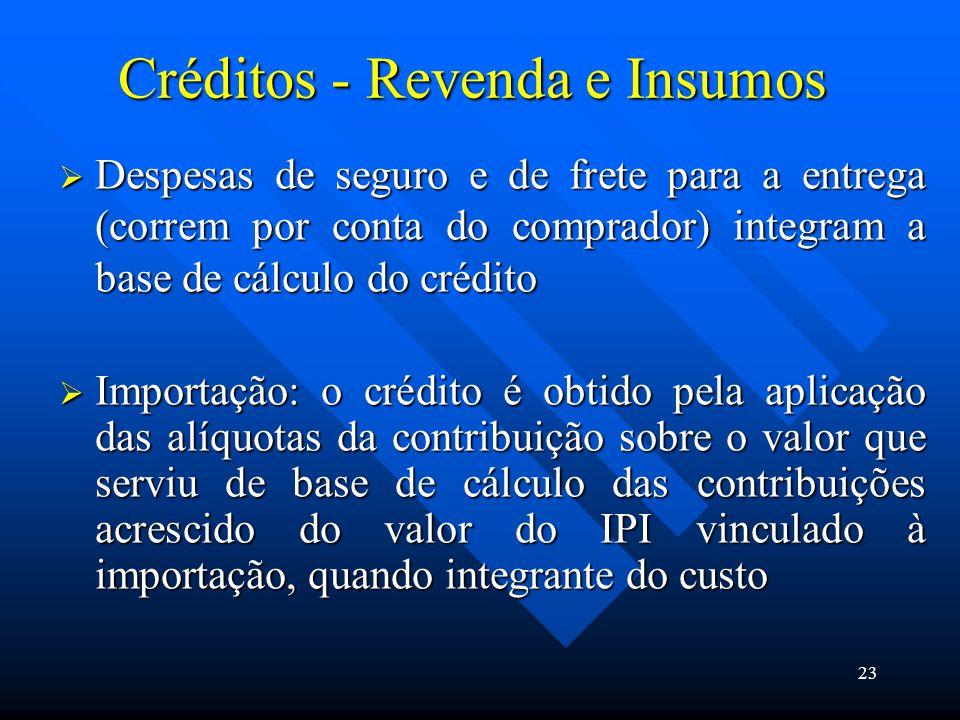 Créditos - Revenda e Insumos  Despesas de seguro e de frete para a entrega (correm por conta do comprador) integram a base de cálculo do crédito  Im