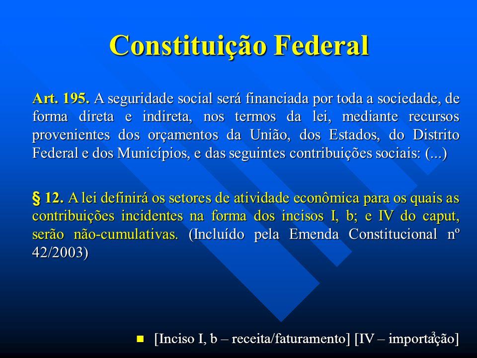 Constituição Federal Art. 195. A seguridade social será financiada por toda a sociedade, de forma direta e indireta, nos termos da lei, mediante recur