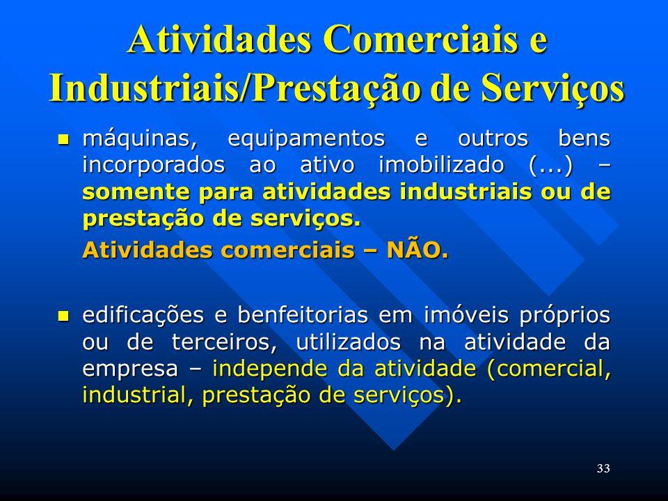 Atividades Comerciais e Industriais/Prestação de Serviços máquinas, equipamentos e outros bens incorporados ao ativo imobilizado (...) – somente para