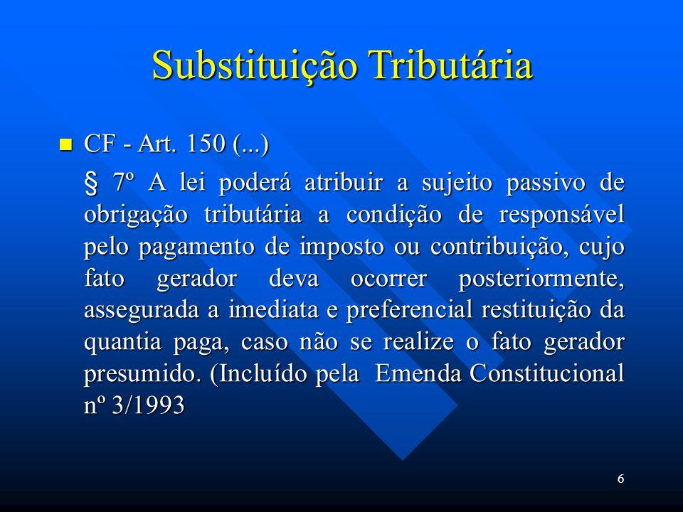 Substituição Tributária CF - Art. 150 (...) CF - Art. 150 (...) § 7º A lei poderá atribuir a sujeito passivo de obrigação tributária a condição de res