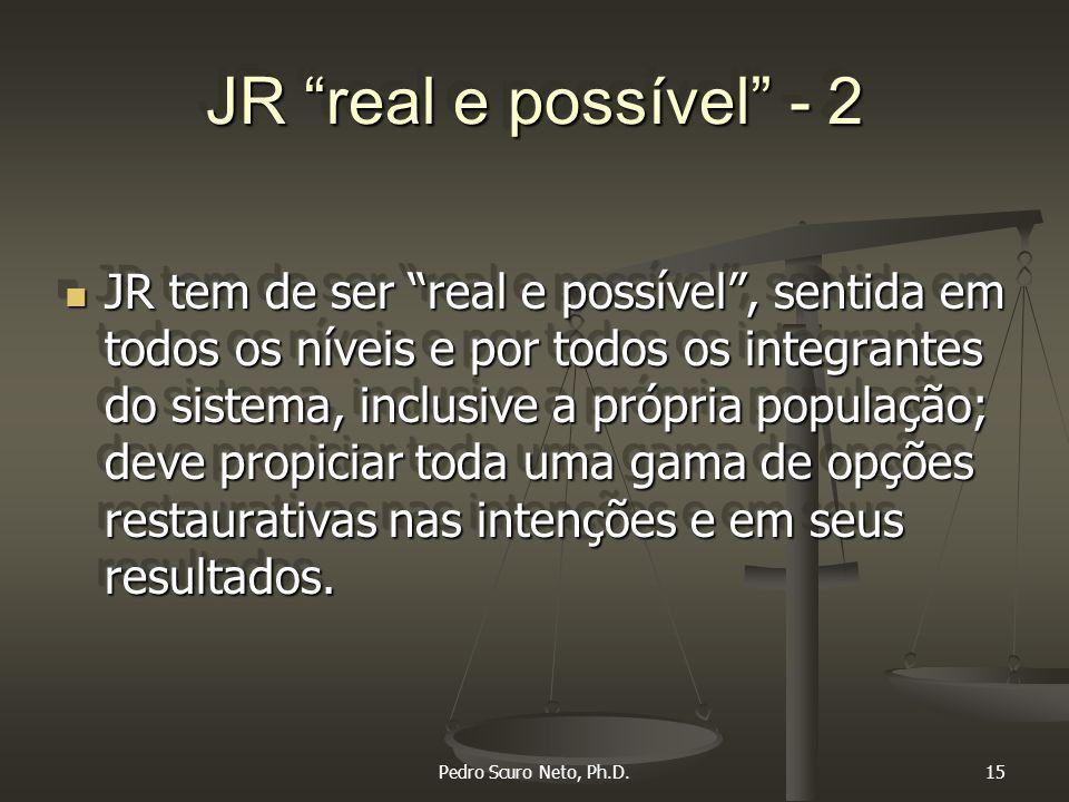 Pedro Scuro Neto, Ph.D.15 JR real e possível - 2 JR tem de ser real e possível , sentida em todos os níveis e por todos os integrantes do sistema, inclusive a própria população; deve propiciar toda uma gama de opções restaurativas nas intenções e em seus resultados.
