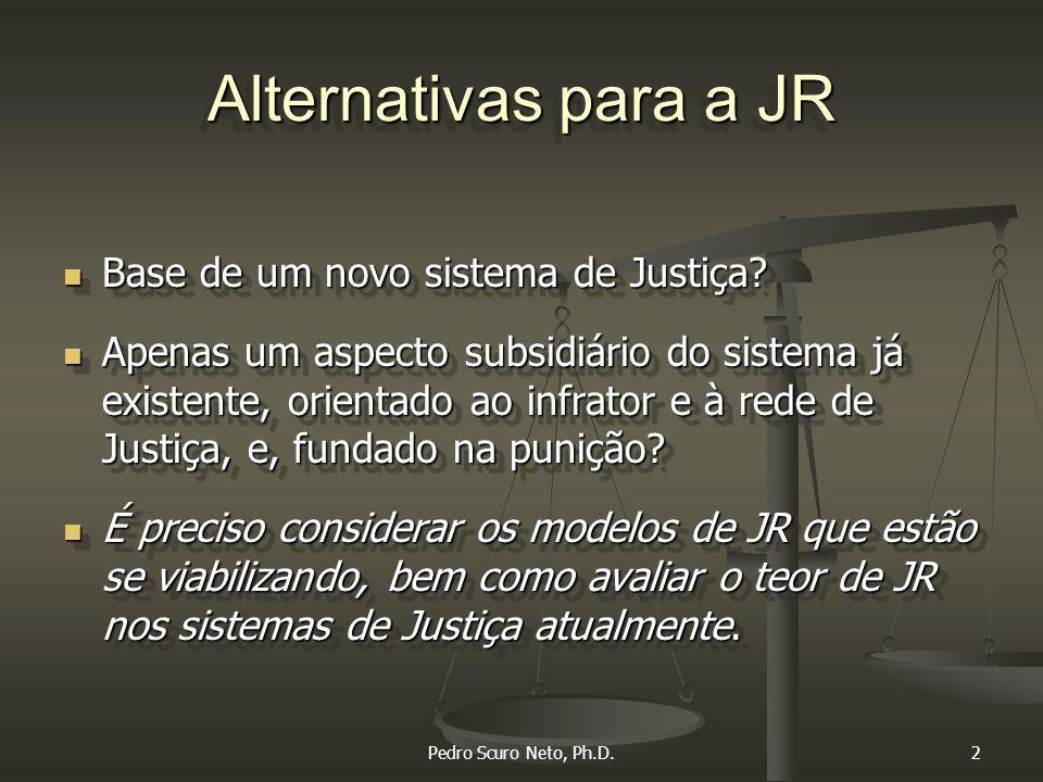 Pedro Scuro Neto, Ph.D.2 Alternativas para a JR Base de um novo sistema de Justiça.