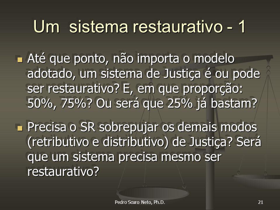 Pedro Scuro Neto, Ph.D.21 Um sistema restaurativo - 1 Até que ponto, não importa o modelo adotado, um sistema de Justiça é ou pode ser restaurativo.