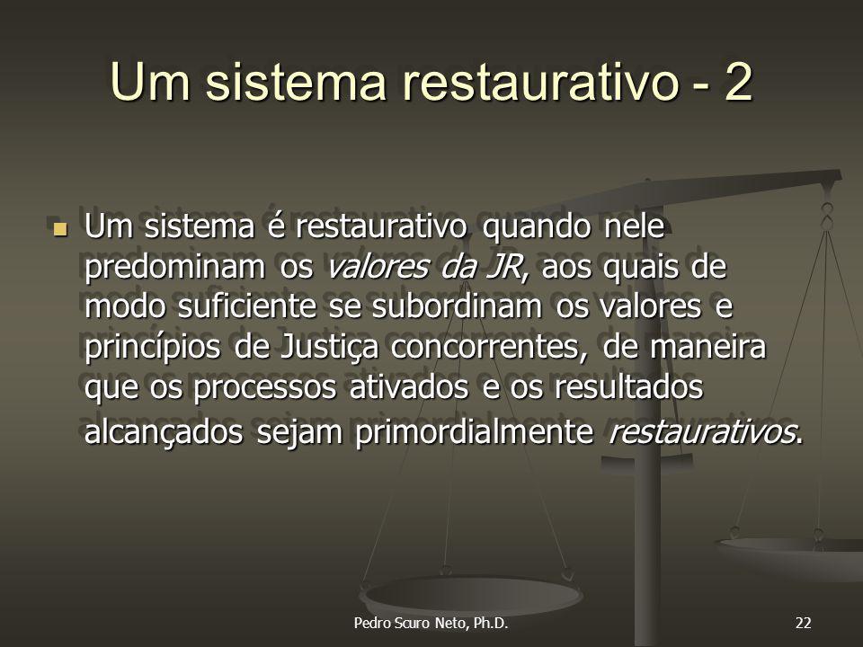Pedro Scuro Neto, Ph.D.22 Um sistema restaurativo - 2 Um sistema é restaurativo quando nele predominam os valores da JR, aos quais de modo suficiente se subordinam os valores e princípios de Justiça concorrentes, de maneira que os processos ativados e os resultados alcançados sejam primordialmente restaurativos.