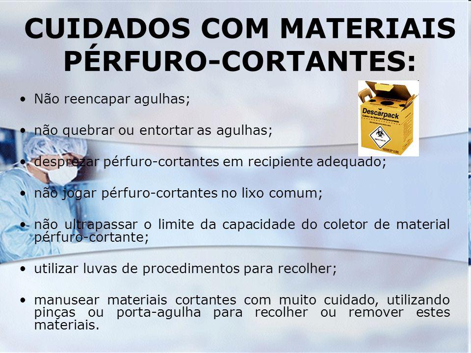 CUIDADOS COM MATERIAIS PÉRFURO-CORTANTES: Não reencapar agulhas; não quebrar ou entortar as agulhas; desprezar pérfuro-cortantes em recipiente adequad