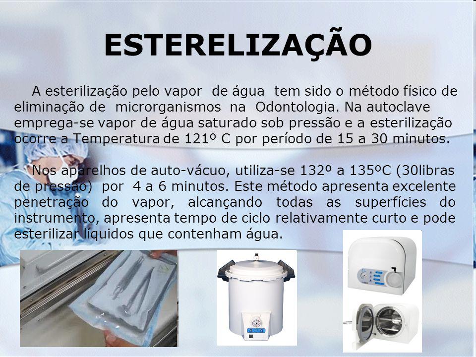 ESTERELIZAÇÃO A esterilização pelo vapor de água tem sido o método físico de eliminação de microrganismos na Odontologia. Na autoclave emprega-se vapo