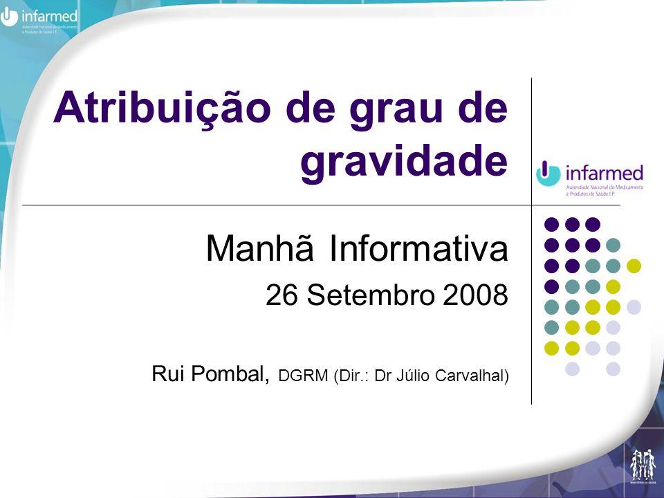 Atribuição de grau de gravidade Manhã Informativa 26 Setembro 2008 Rui Pombal, DGRM (Dir.: Dr Júlio Carvalhal)