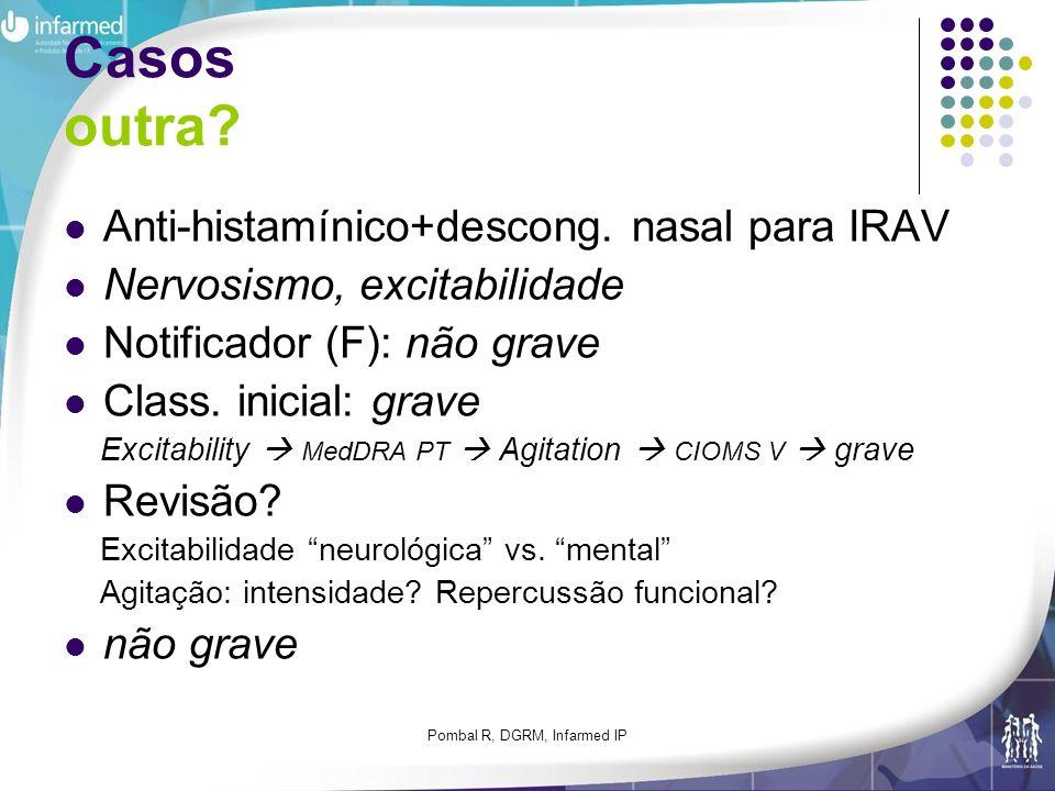 Pombal R, DGRM, Infarmed IP Casos outra? Anti-histamínico+descong. nasal para IRAV Nervosismo, excitabilidade Notificador (F): não grave Class. inicia