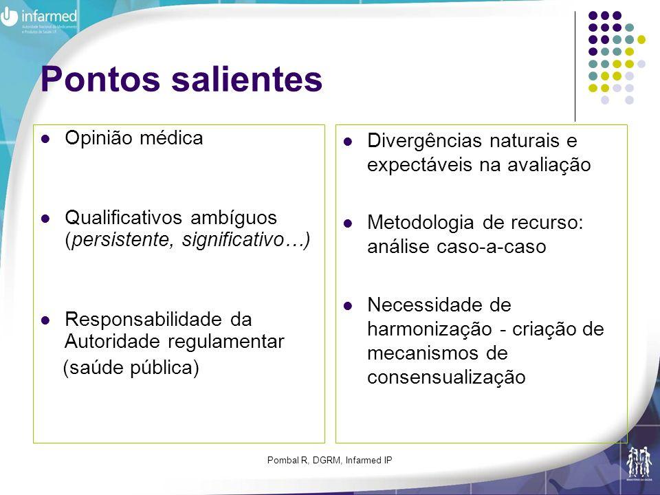Pombal R, DGRM, Infarmed IP Pontos salientes Opinião médica Qualificativos ambíguos (persistente, significativo…) Responsabilidade da Autoridade regul