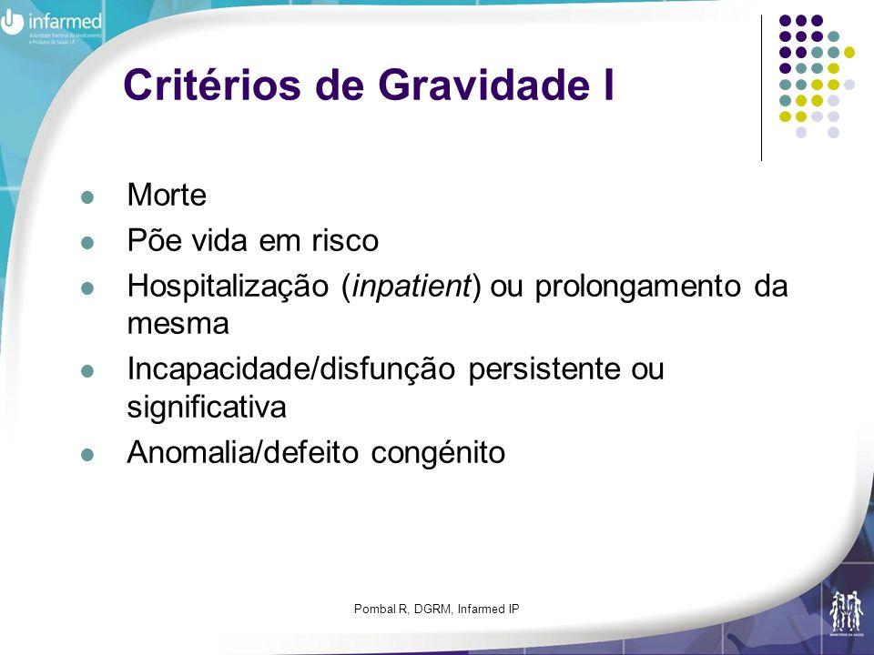 Pombal R, DGRM, Infarmed IP Critérios de Gravidade I Morte Põe vida em risco Hospitalização (inpatient) ou prolongamento da mesma Incapacidade/disfunç