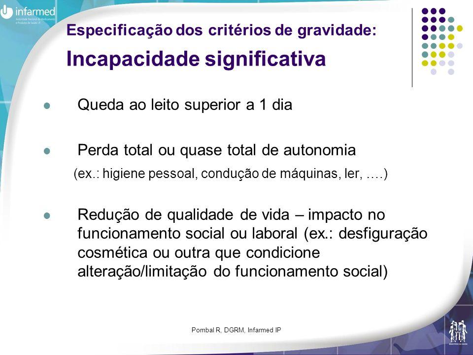 Pombal R, DGRM, Infarmed IP Especificação dos critérios de gravidade: Incapacidade significativa Queda ao leito superior a 1 dia Perda total ou quase