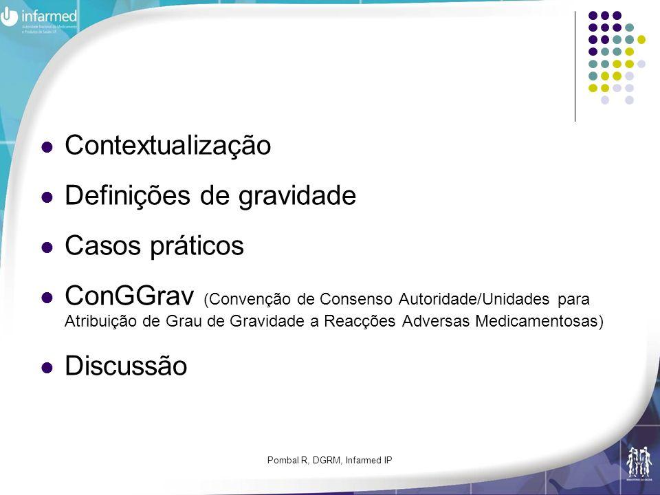 Pombal R, DGRM, Infarmed IP Contextualização Definições de gravidade Casos práticos ConGGrav (Convenção de Consenso Autoridade/Unidades para Atribuiçã