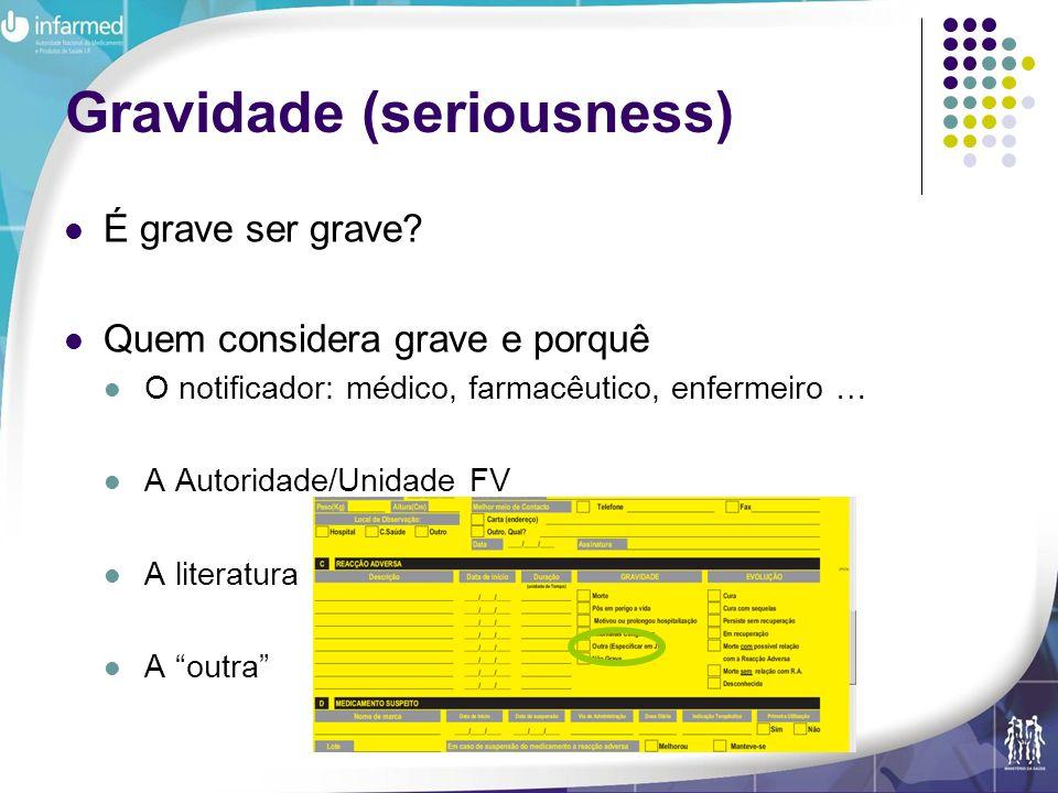 Pombal R, DGRM, Infarmed IP Gravidade (seriousness) É grave ser grave? Quem considera grave e porquê O notificador: médico, farmacêutico, enfermeiro …