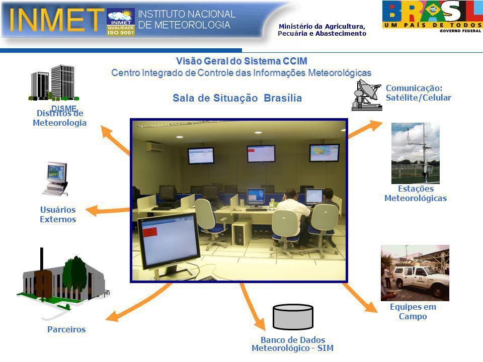 Visão Geral do Sistema CCIM Centro Integrado de Controle das Informações Meteorológicas Sala de Situação Brasília Usuários Externos Equipes em Campo D