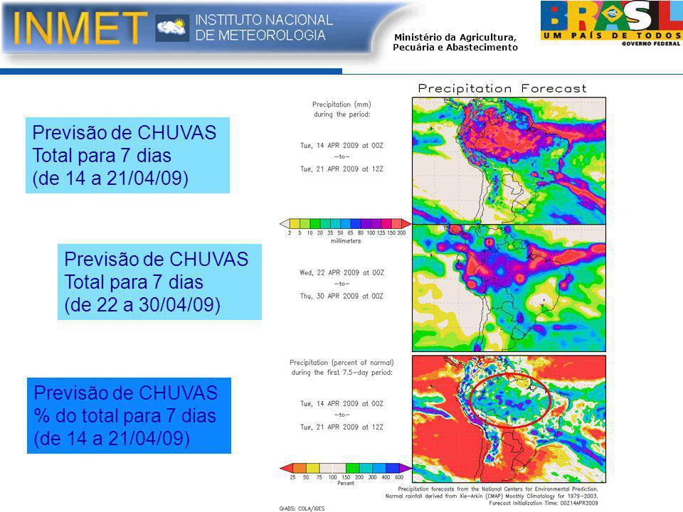 Ministério da Agricultura, Pecuária e Abastecimento Previsão de CHUVAS Total para 7 dias (de 14 a 21/04/09) Previsão de CHUVAS Total para 7 dias (de 22 a 30/04/09) Previsão de CHUVAS % do total para 7 dias (de 14 a 21/04/09)