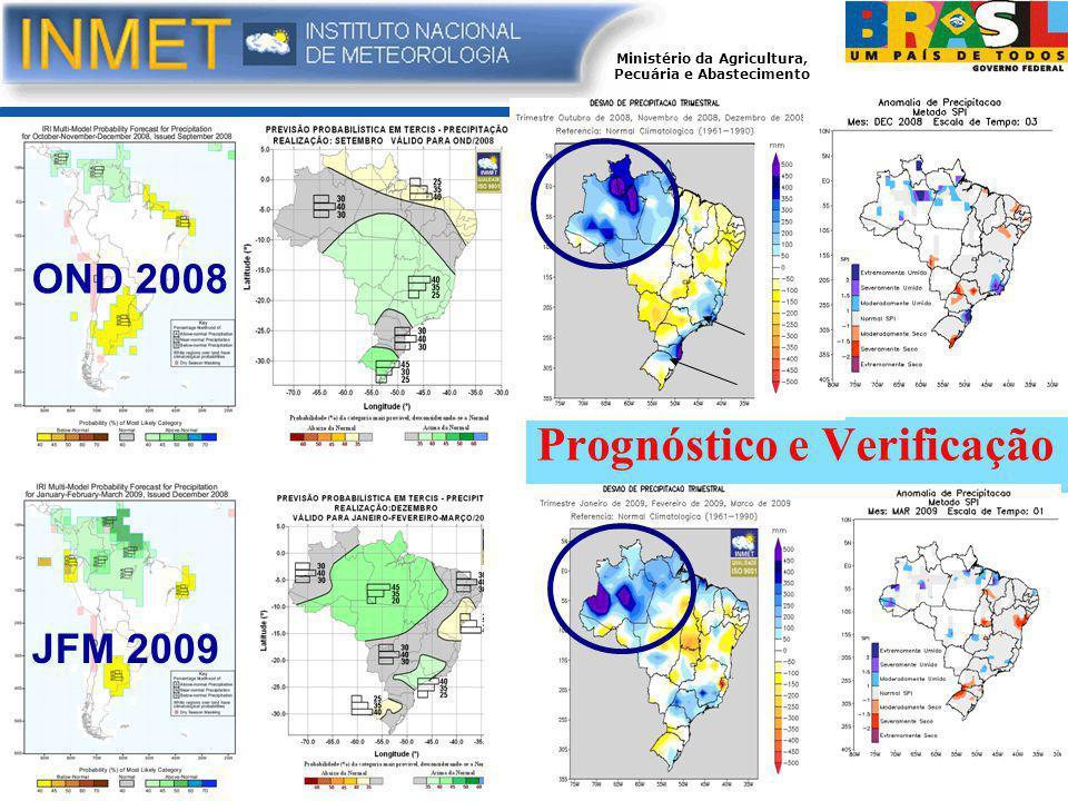Ministério da Agricultura, Pecuária e Abastecimento Prognóstico e Verificação OND 2008 JFM 2009