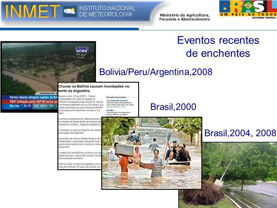 Ministério da Agricultura, Pecuária e Abastecimento Bolivia/Peru/Argentina,2008 Brasil,2000 Brasil,2004, 2008 Eventos recentes de enchentes