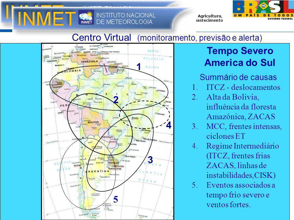 Ministério da Agricultura, Pecuária e Abastecimento 1 2 3 4 Summário de causas 1.ITCZ - deslocamentos 2.Alta da Bolivia, influência da floresta Amazônica, ZACAS 3.MCC, frentes intensas, ciclones ET 4.Regime Intermediário (ITCZ, frentes frias ZACAS, linhas de instabilidades,CISK) 5.Eventos associados a tempo frio severo e ventos fortes.