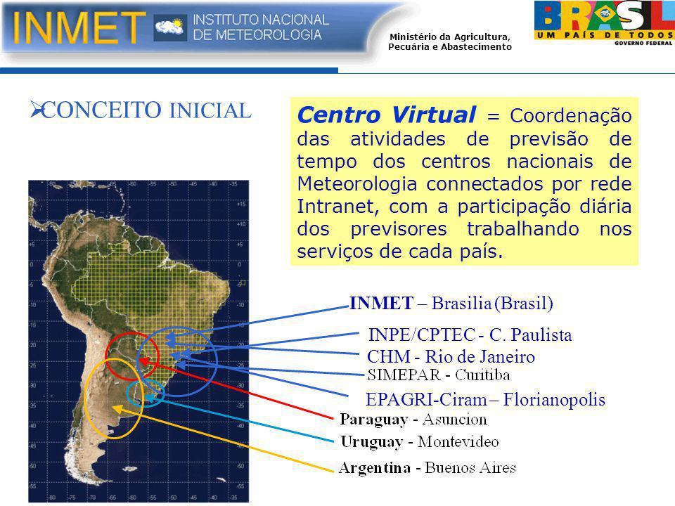 Ministério da Agricultura, Pecuária e Abastecimento Centro Virtual = Coordenação das atividades de previsão de tempo dos centros nacionais de Meteorologia connectados por rede Intranet, com a participação diária dos previsores trabalhando nos serviços de cada país.
