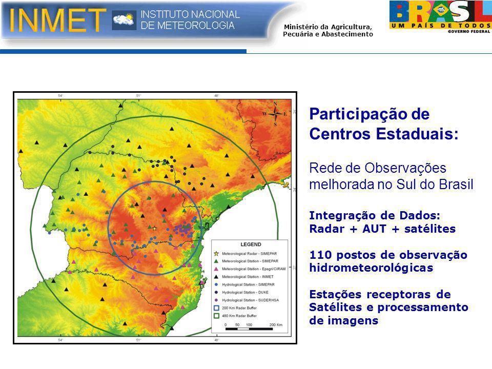 Ministério da Agricultura, Pecuária e Abastecimento Participação de Centros Estaduais: Rede de Observações melhorada no Sul do Brasil Integração de Dados: Radar + AUT + satélites 110 postos de observação hidrometeorológicas Estações receptoras de Satélites e processamento de imagens