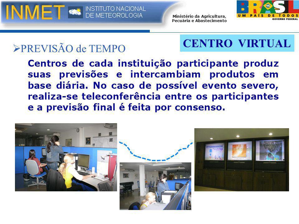 Ministério da Agricultura, Pecuária e Abastecimento CENTRO VIRTUAL Centros de cada instituição participante produz suas previsões e intercambiam produtos em base diária.