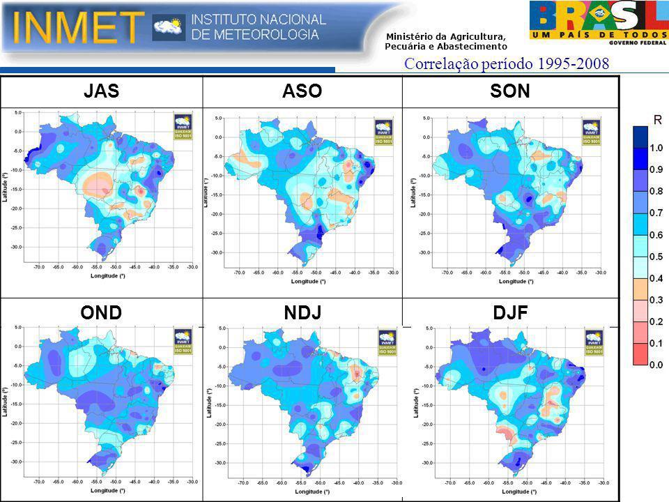 Ministério da Agricultura, Pecuária e Abastecimento JASASOSON ONDNDJDJF Correlação período 1995-2008