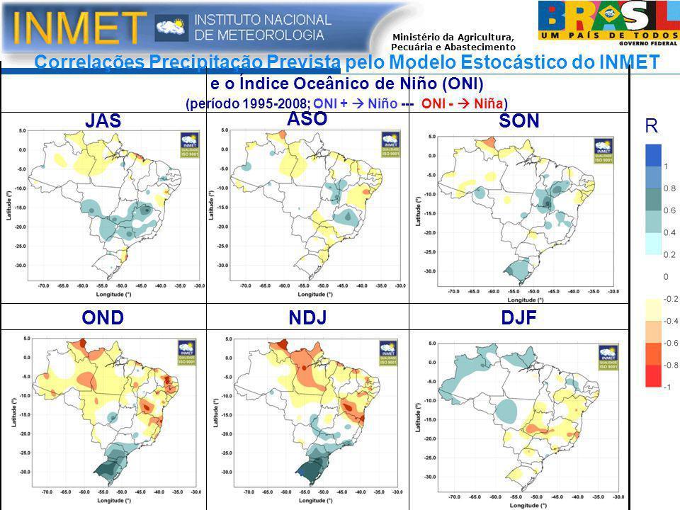 Ministério da Agricultura, Pecuária e Abastecimento DJFNDJOND SON ASO JAS Correlações Precipitação Prevista pelo Modelo Estocástico do INMET e o Índice Oceânico de Niño (ONI) (período 1995-2008; ONI +  Niño --- ONI -  Niña) R