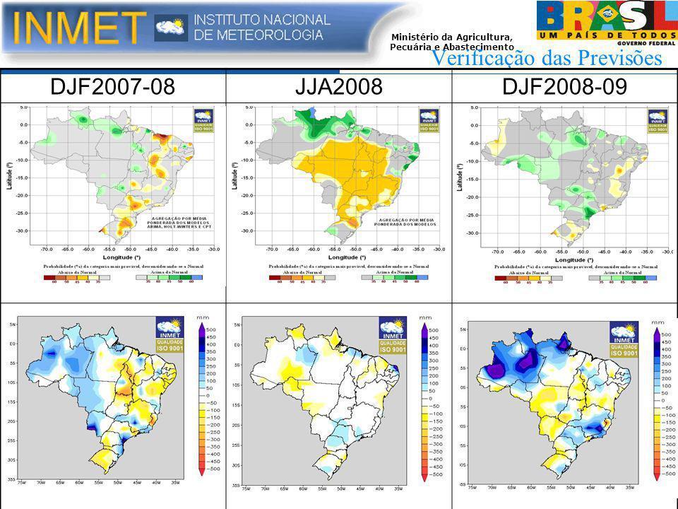 Ministério da Agricultura, Pecuária e Abastecimento Verificação das Previsões DJF2007-08JJA2008DJF2008-09