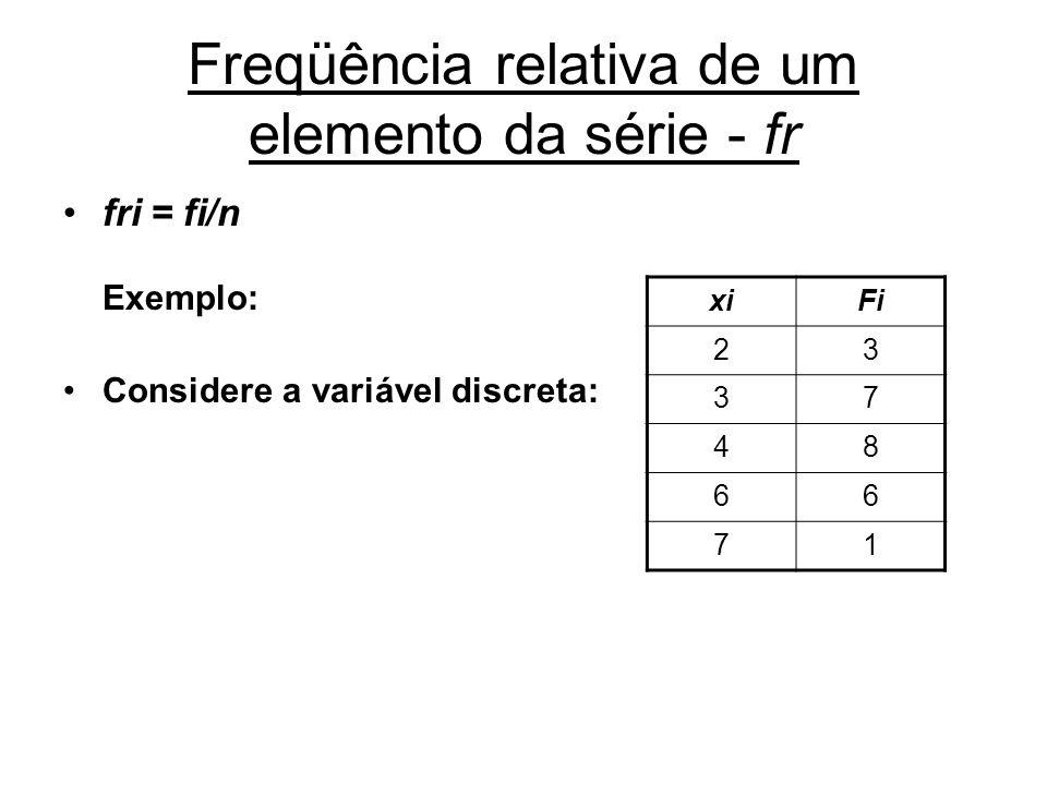 Freqüência relativa de um elemento da série - fr fri = fi/n Exemplo: Considere a variável discreta: xiFi 23 37 48 66 71