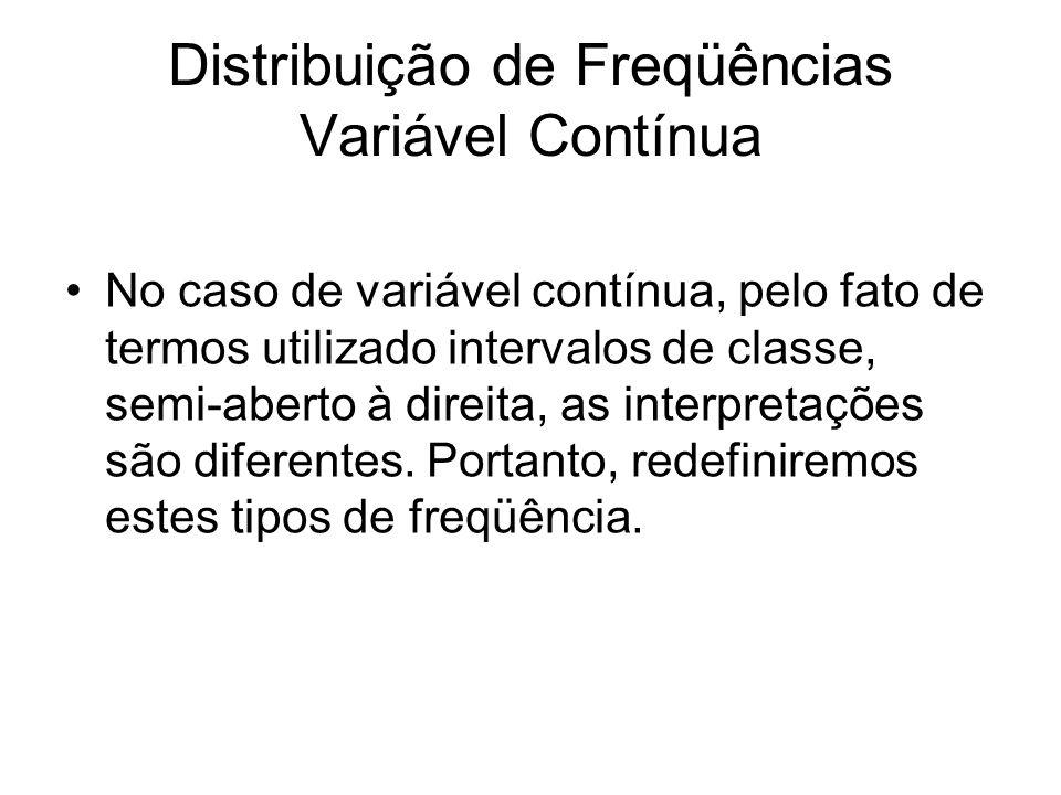 Distribuição de Freqüências Variável Contínua No caso de variável contínua, pelo fato de termos utilizado intervalos de classe, semi-aberto à direita, as interpretações são diferentes.