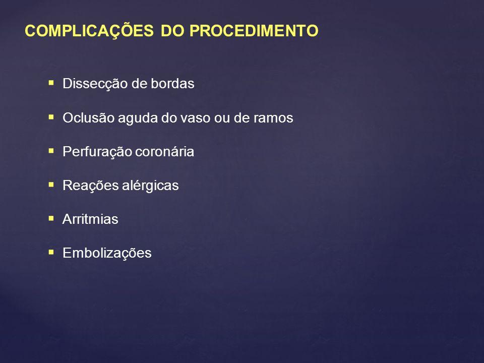 COMPLICAÇÕES DO PROCEDIMENTO  Dissecção de bordas  Oclusão aguda do vaso ou de ramos  Perfuração coronária  Reações alérgicas  Arritmias  Emboli