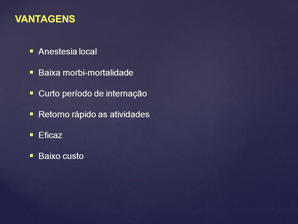 VANTAGENS  Anestesia local  Baixa morbi-mortalidade  Curto período de internação  Retorno rápido as atividades  Eficaz  Baixo custo