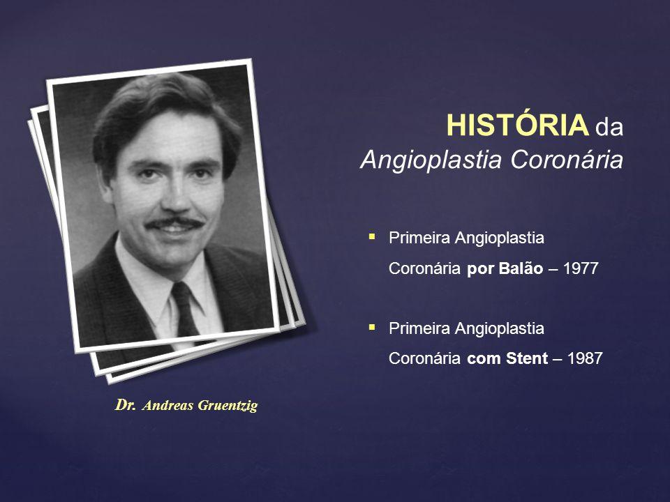 HISTÓRIA da Angioplastia Coronária Dr. Andreas Gruentzig  Primeira Angioplastia Coronária por Balão – 1977  Primeira Angioplastia Coronária com Sten