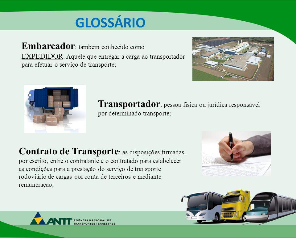 GLOSSÁRIO Embarcador : também conhecido como EXPEDIDOR.
