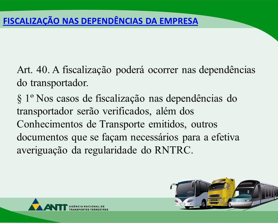 FISCALIZAÇÃO NAS DEPENDÊNCIAS DA EMPRESA Art.40.