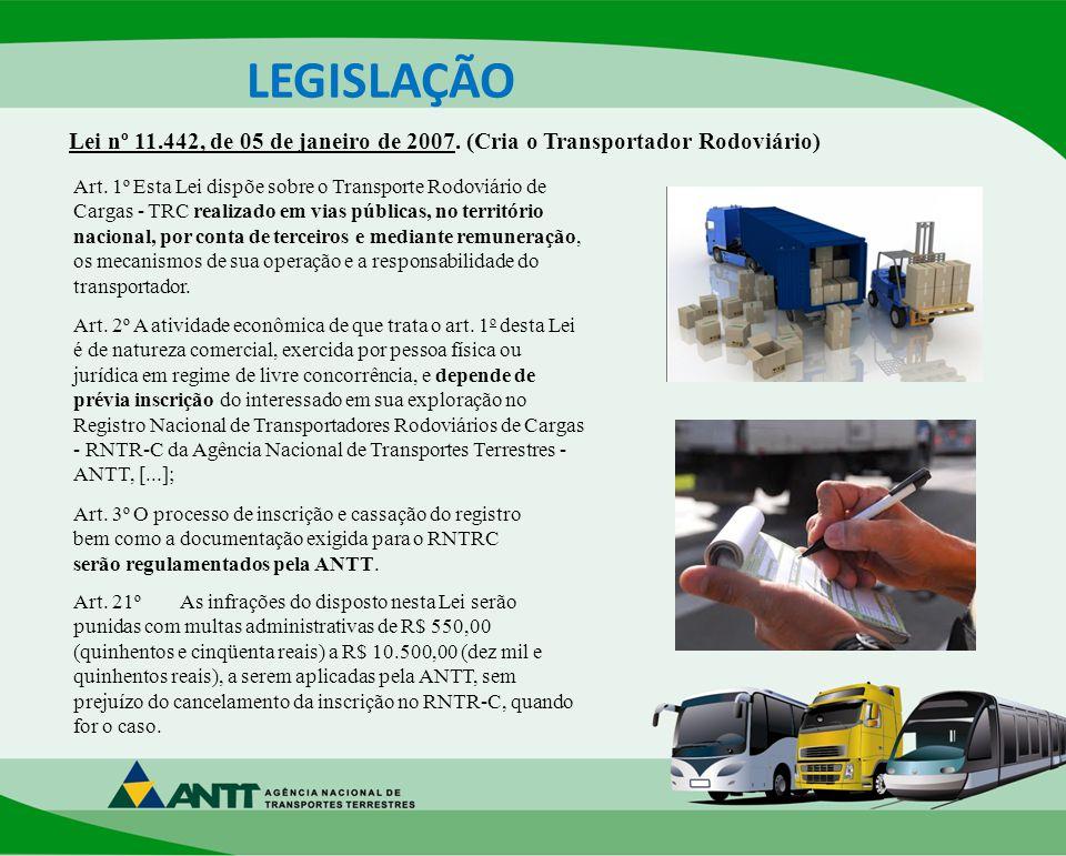 Lei nº 11.442, de 05 de janeiro de 2007.(Cria o Transportador Rodoviário) Art.