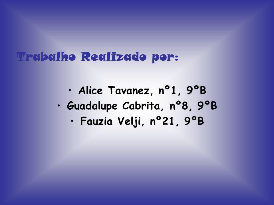Trabalho Realizado por: Alice Tavanez, nº1, 9ºB Guadalupe Cabrita, nº8, 9ºB Fauzia Velji, nº21, 9ºB